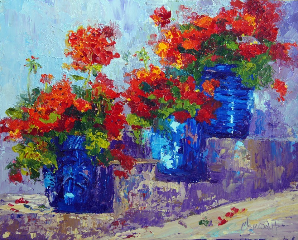 """Provence Pots"" original fine art by Marion Hedger"