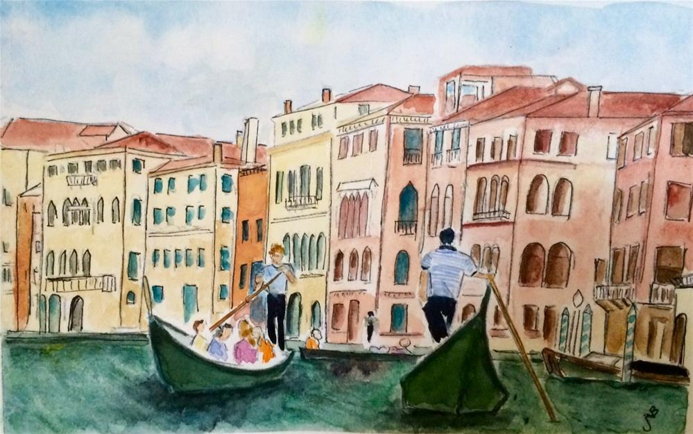 """Venice Gondoliers watercolor 6 x 9"" original fine art by Nancy Beard"