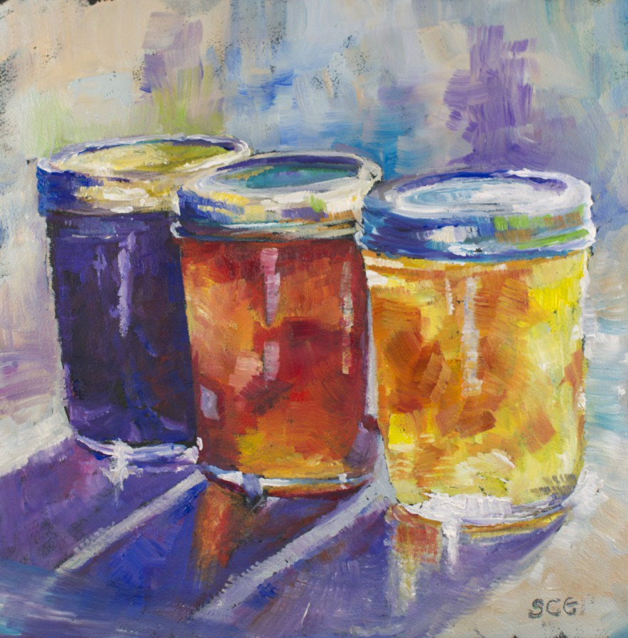 """Jam Jars Study #2"" original fine art by Sue Churchgrant"
