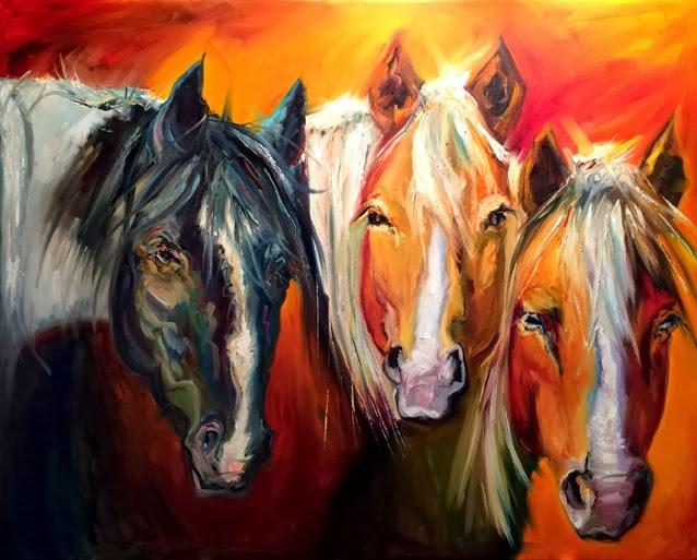 """ARTOUTWEST DIANE WHITEHEAD HORSE EQUINE ANIMAL ART OIL PAINTING XXLARGE"" original fine art by Diane Whitehead"