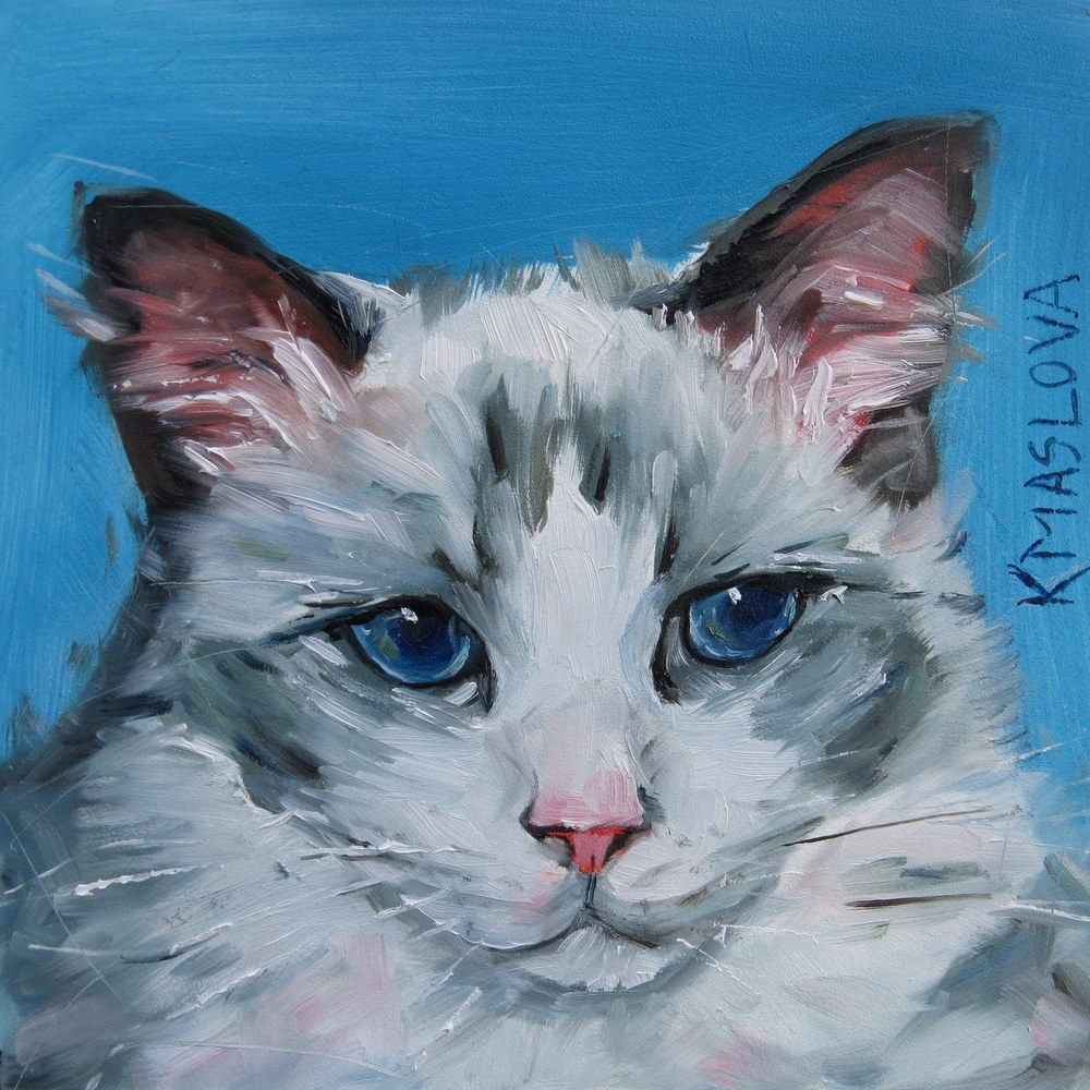 """Cat2"" original fine art by Kulli Maslova"