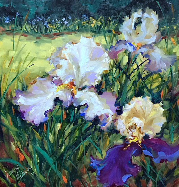 """Beneath the Wild Sky Iris Garden"" original fine art by Nancy Medina"