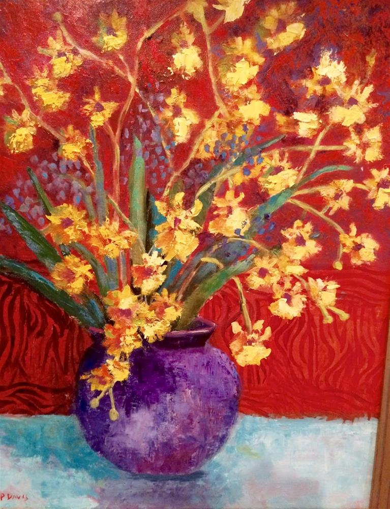 """Blue Vase with Yellow Flowers"" original fine art by Phyllis Davis"