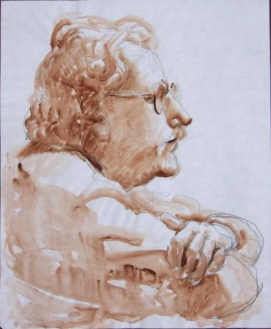 """Nick,figure, drawing,17x14, price NFS"" original fine art by Joy Olney"
