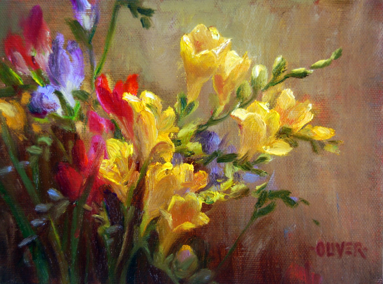 """Freesia Study"" original fine art by Julie Ford Oliver"