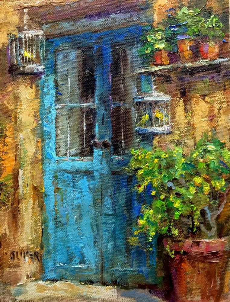 """Door In France With Canaries"" original fine art by Julie Ford Oliver"