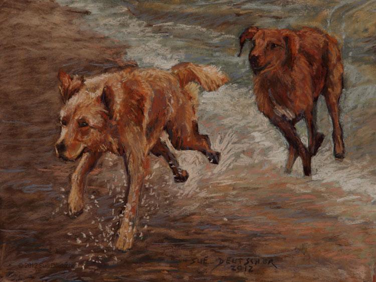 """""""Golden Retrievers Having Fun"""" original fine art by Sue Deutscher"""