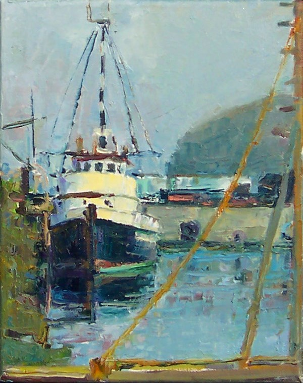 """Fishing Boat in Morning Fog,seascape,oil on canvas,10x8,price$700"" original fine art by Joy Olney"