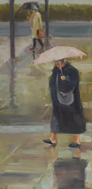"""wet walk"" original fine art by Carol Carmichael"