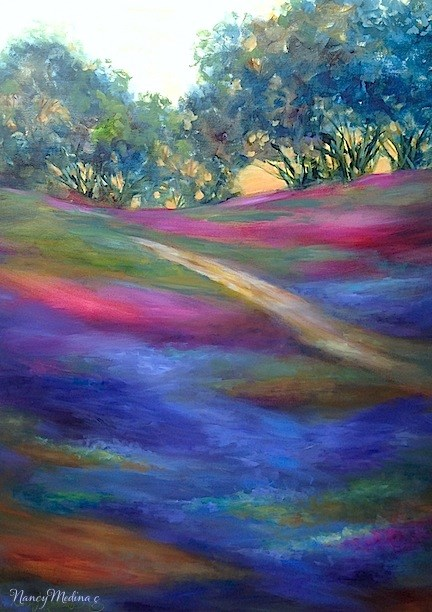 """Dip in the Road ~ A New Bluebonnet Landscape Painting and an Art Studio on Wheels by Nancy Medina"" original fine art by Nancy Medina"