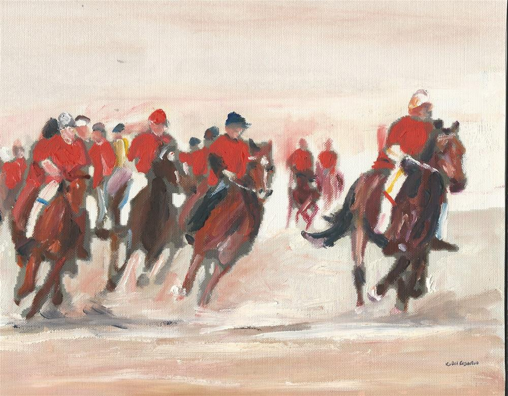 """""""The Red Gang  (10 x 8 oil on canvas sheet - no frame)"""" original fine art by Ramon DelRosario"""