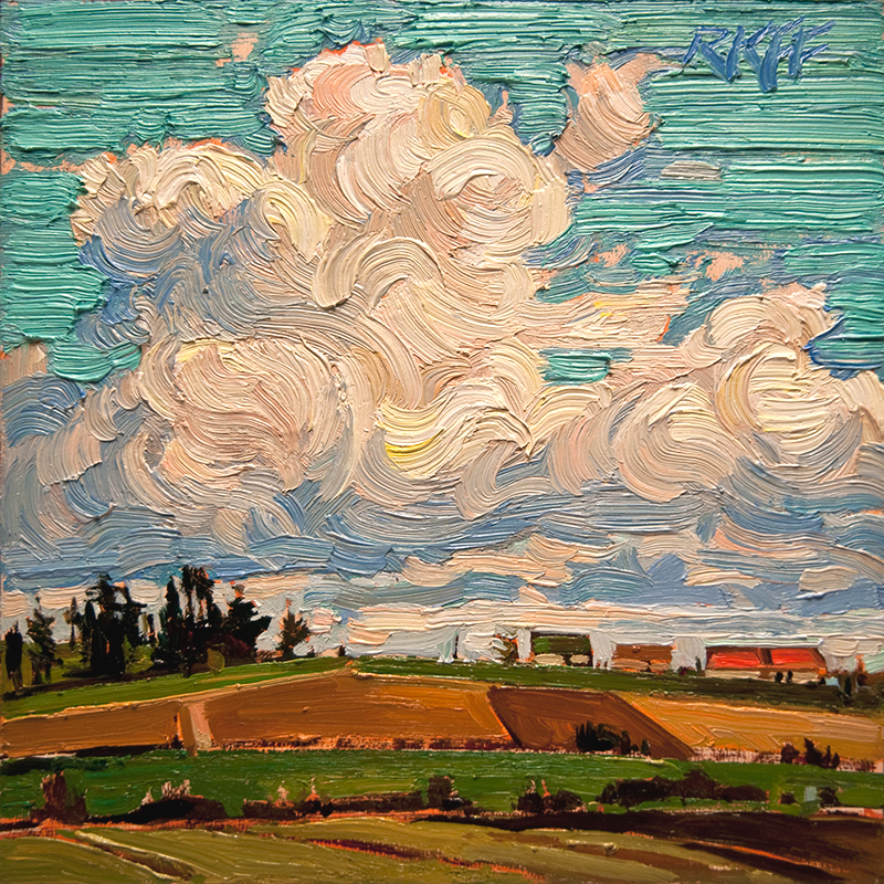 """Summer Sky: 6x6 oil on panel"" original fine art by Ken Faulks"