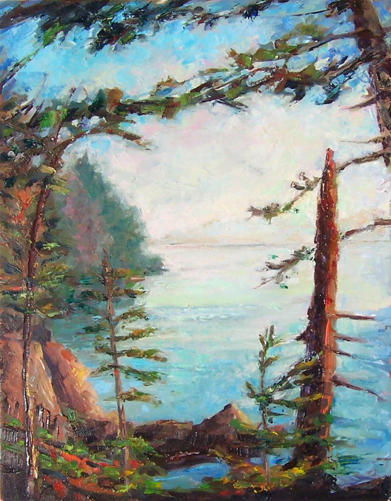 """Path along the Bay,landscape,oil on canvas,12x9,price$350"" original fine art by Joy Olney"