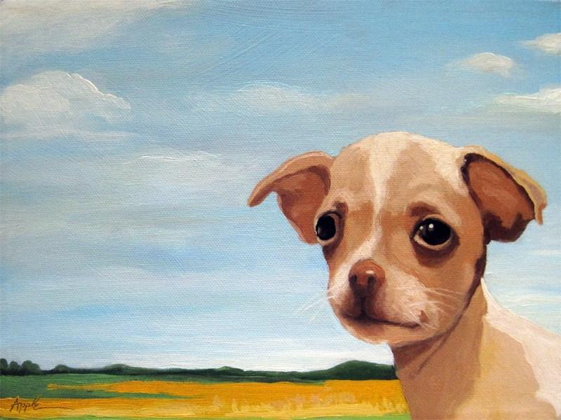 """Baby Chihuahua farm landscape animal dog portrait"" original fine art by Linda Apple"