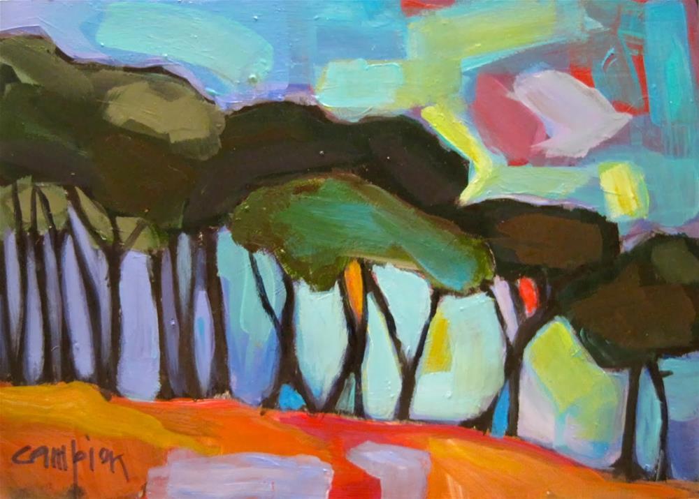 """251.  In a Row 4"" original fine art by Diane Campion"