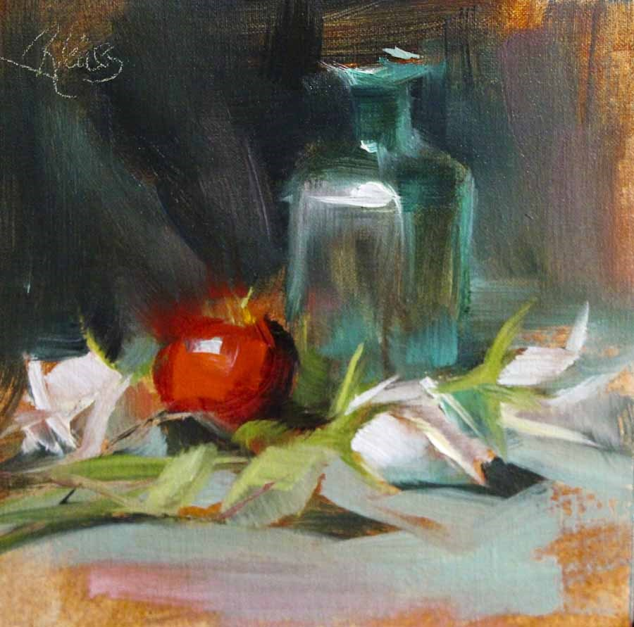 """One Red Apple"" original fine art by Pamela Blaies"