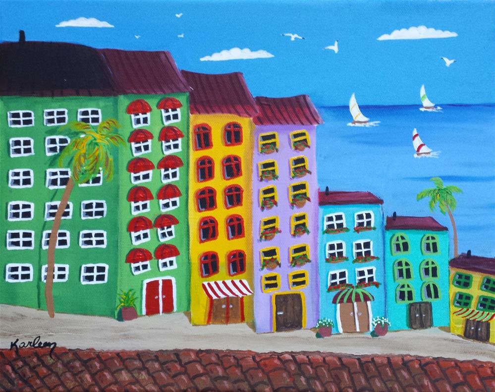 """Coastal Condos"" original fine art by Karleen Kareem"