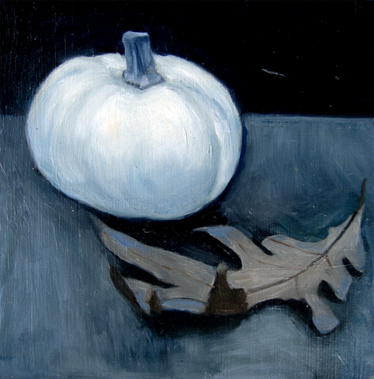 """White Pumpkin and Autumn Leaf"" original fine art by Michael William"