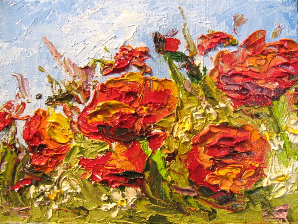 """Poppies and Asters"" original fine art by Susan Elizabeth Jones"