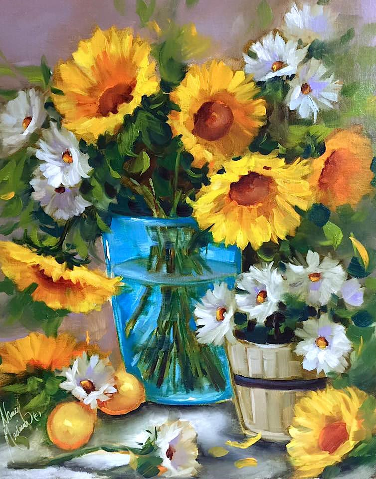 """Lemon Flare Sunflowers and a Tennessee Workshop - Nancy Medina Art Classes and Videos"" original fine art by Nancy Medina"