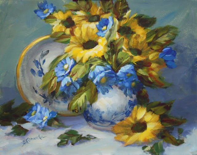 """Sunflowers with Blue and White"" original fine art by Sue Cervenka"