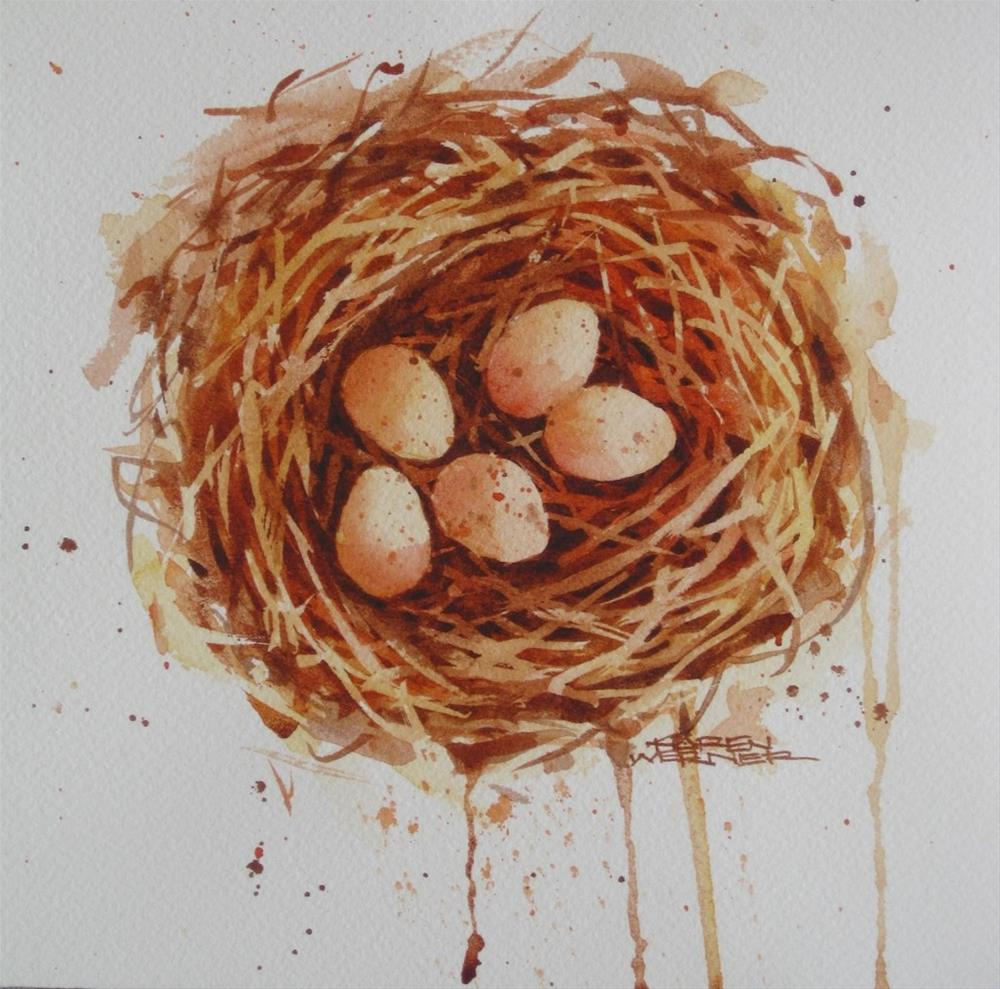"""Five In The Nest"" original fine art by Karen Werner"