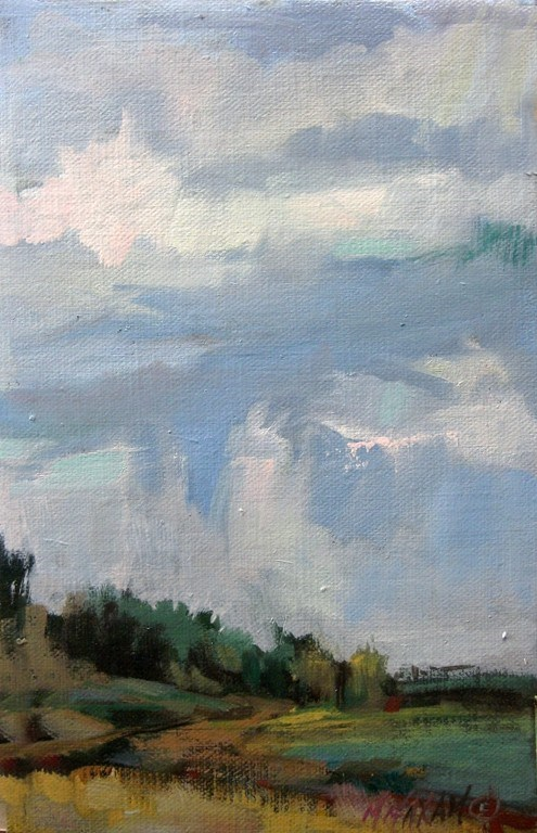 """Chance Of Showers - a little slice of sky"" original fine art by Mary Maxam"