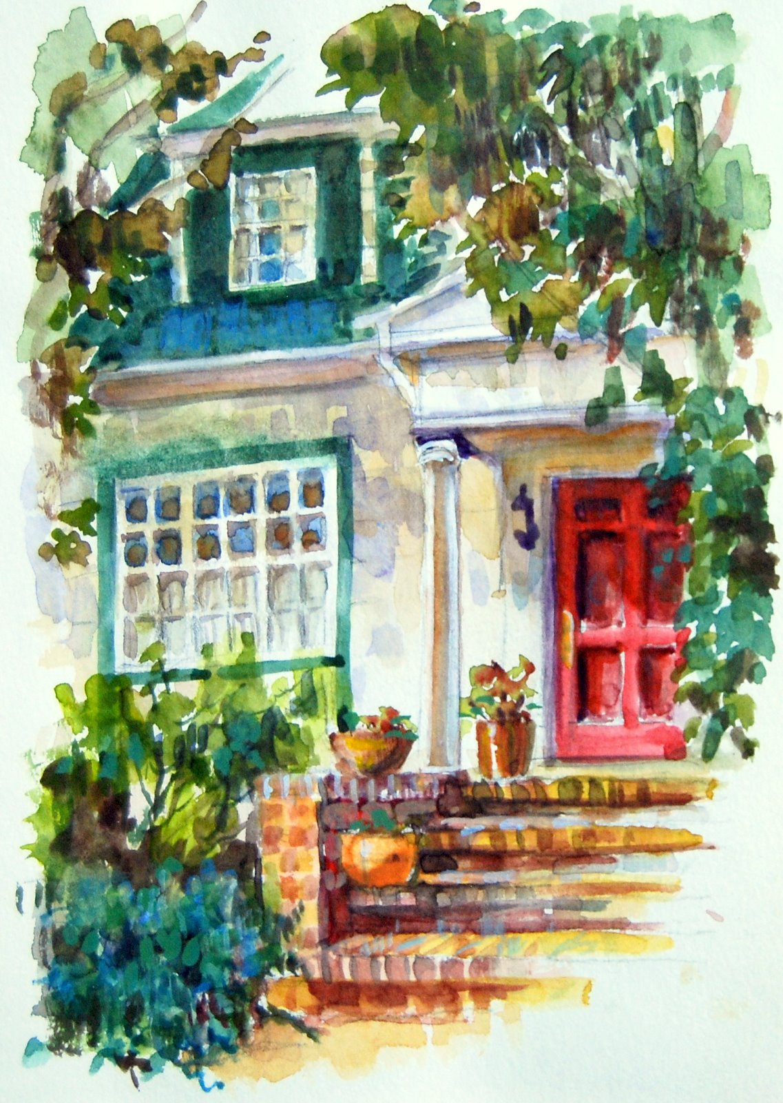"""Watercolor Sketch of a Friends House in Berkeley, CA."" original fine art by Julie Ford Oliver"