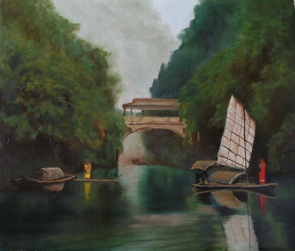 """Below the Bridge"" original fine art by Lynn Darby"