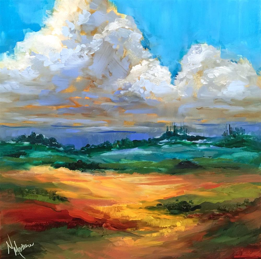 """French Cloudscape and How to Make Cool Yellows"" original fine art by Nancy Medina"