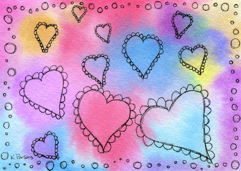 """Scalloped Hearts"" original fine art by Kali Parsons"
