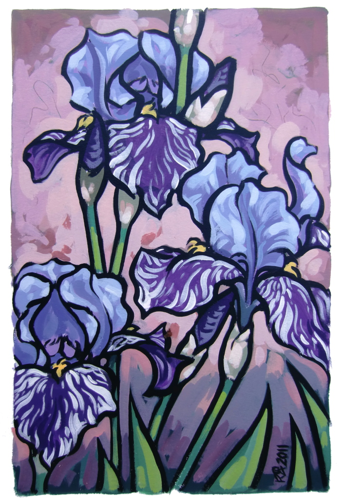 """3 Iris flowers"" original fine art by Roger Akesson"