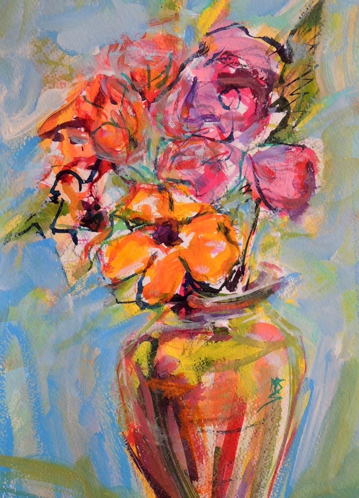"""Rose and Gold"" original fine art by Mary Schiros"