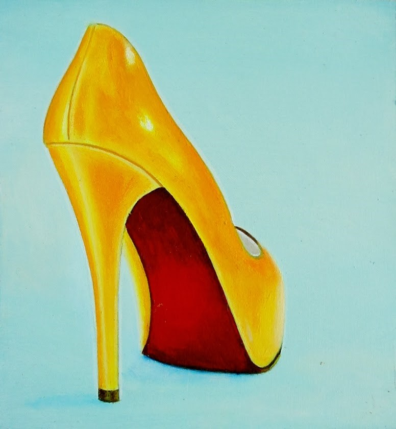 """Christian Louboutin 10- Still Life Painting Of Yellow Christian Louboutin Shoe"" original fine art by Gerard Boersma"