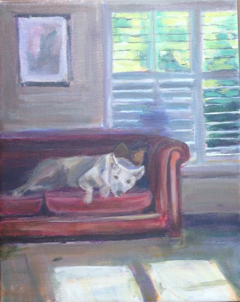 """Cody on the Couch"" original fine art by Beth Carrington Brown"