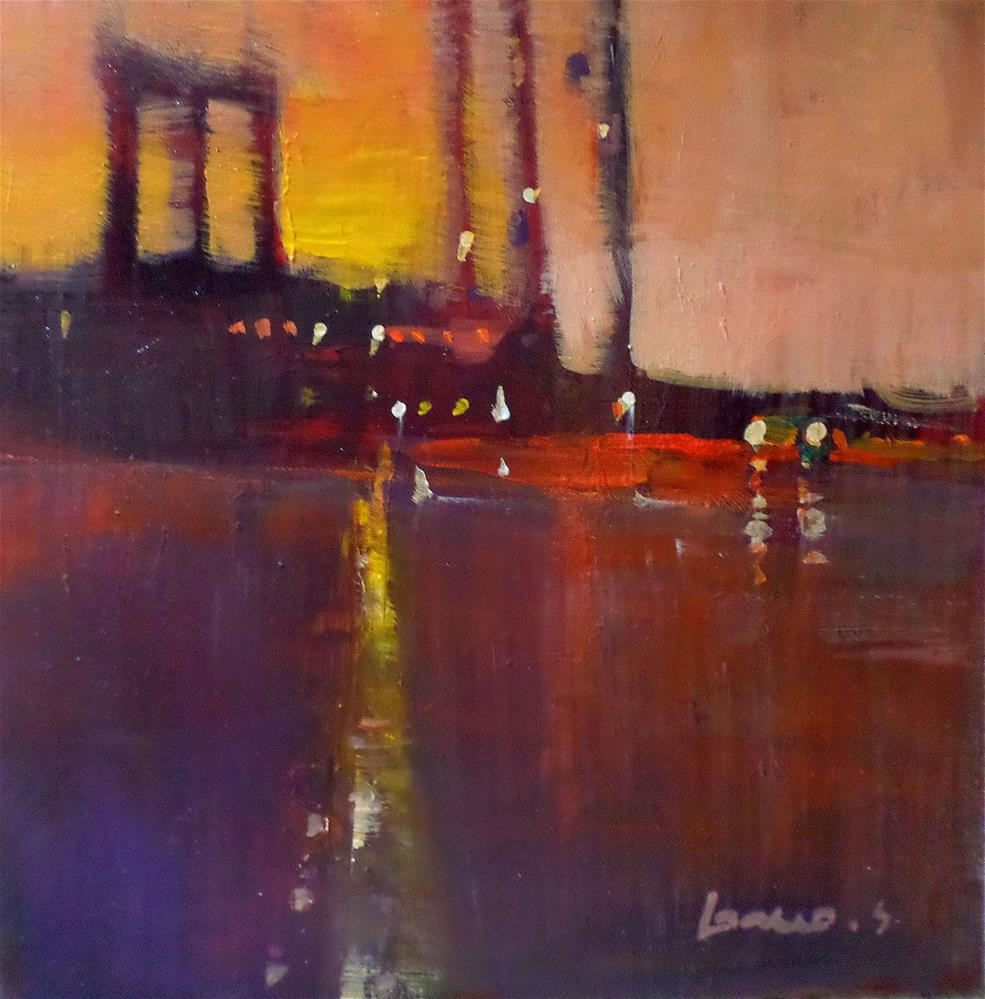 """Sunset new york"" original fine art by salvatore greco"