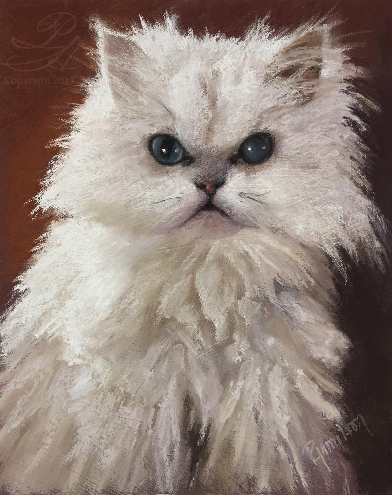 """Roxxi with White Persian"" original fine art by Pamela Hamilton"