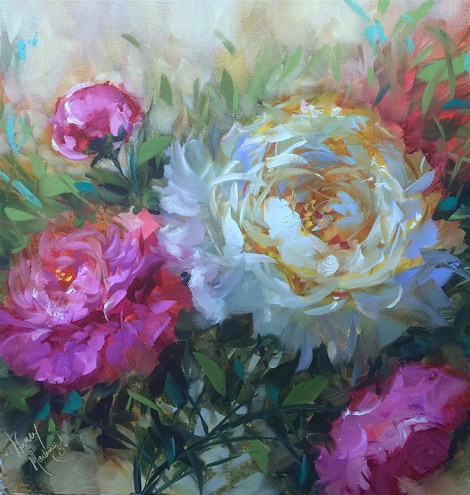 """Cloud Swept Peonies - Painting Online"" original fine art by Nancy Medina"