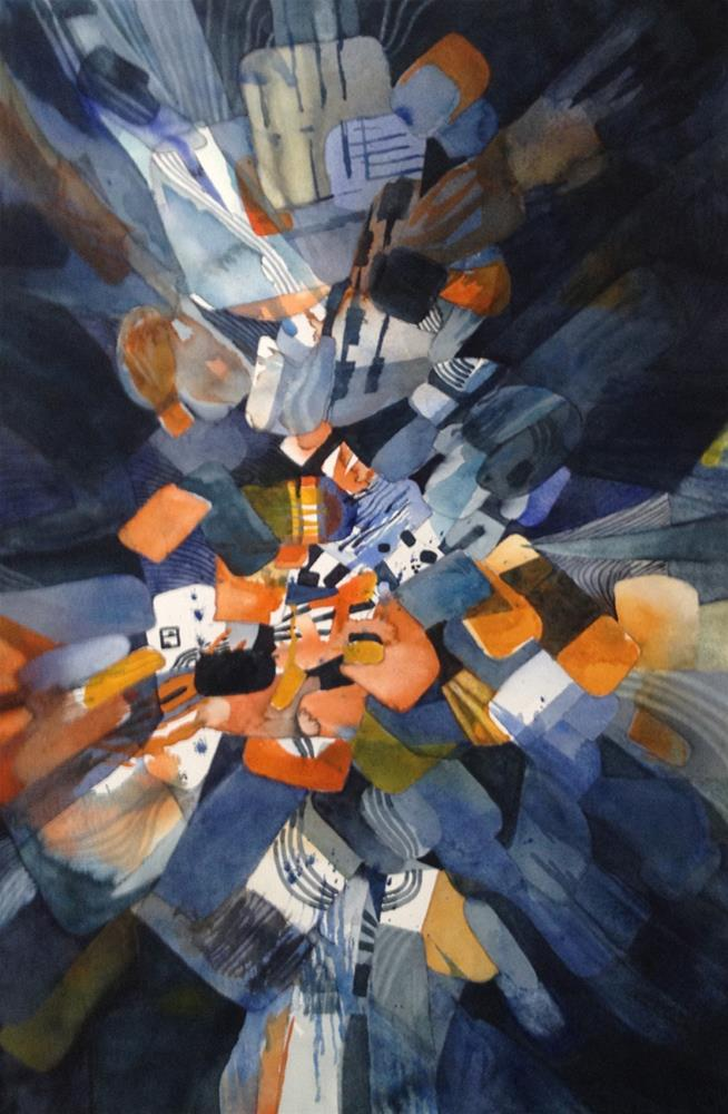 """Blast in Orange and Blue"" original fine art by Julie Crouch"