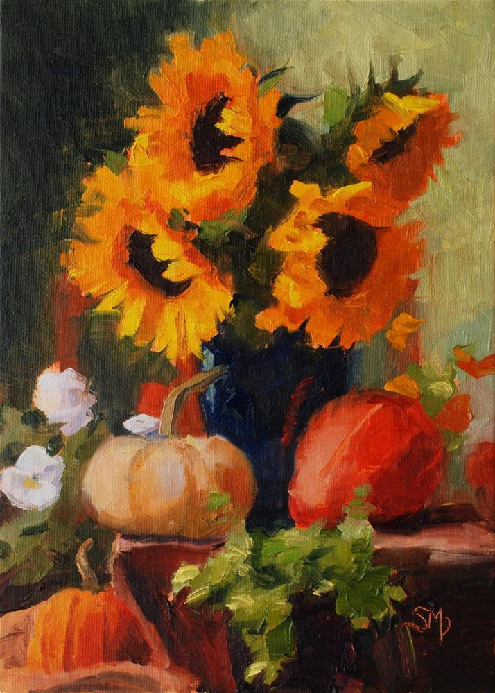 """No. 511 Sunflowers and Pansies and Pumpkins, Oh My"" original fine art by Susan McManamen"
