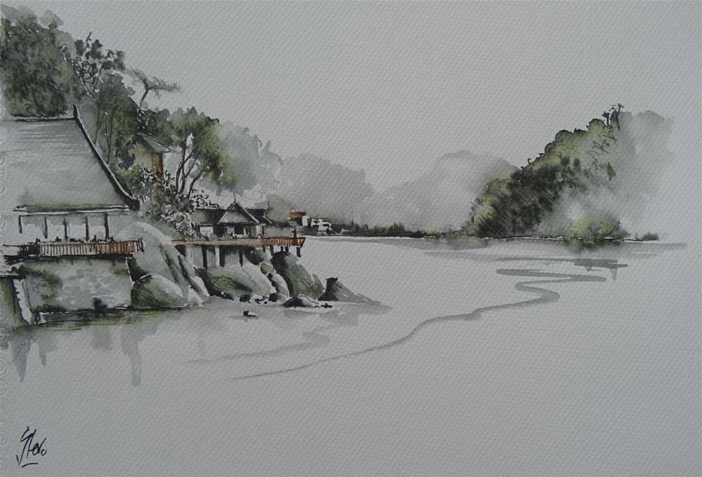 """Towards Pangkor Island, Malaysia"" original fine art by Martin Stephenson"