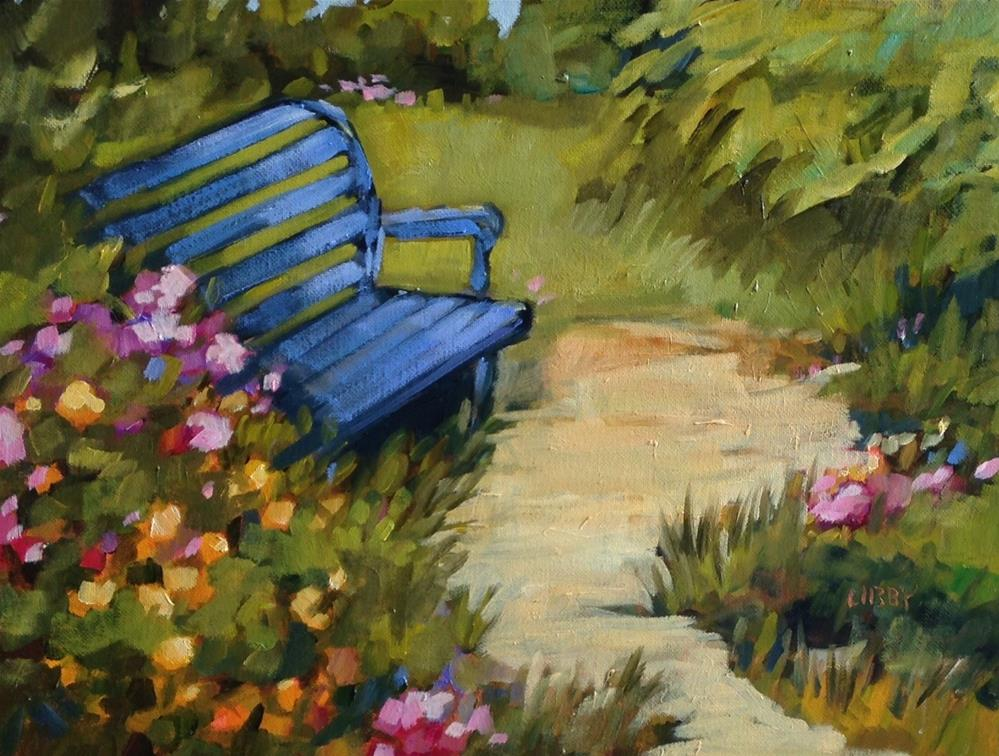 """Blue Bench"" original fine art by Libby Anderson"