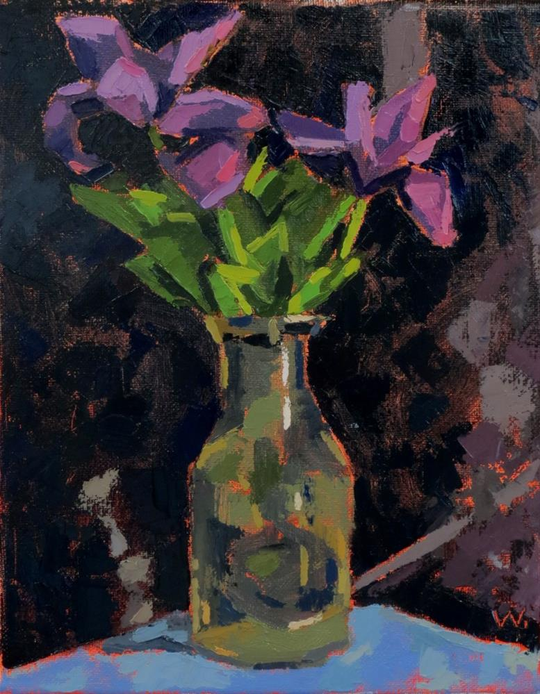 """Small Irises"" original fine art by Joan Wiberg"