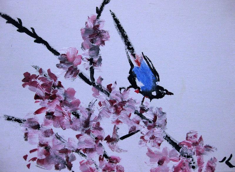 """Blue Bird"" original fine art by Julia Lu"