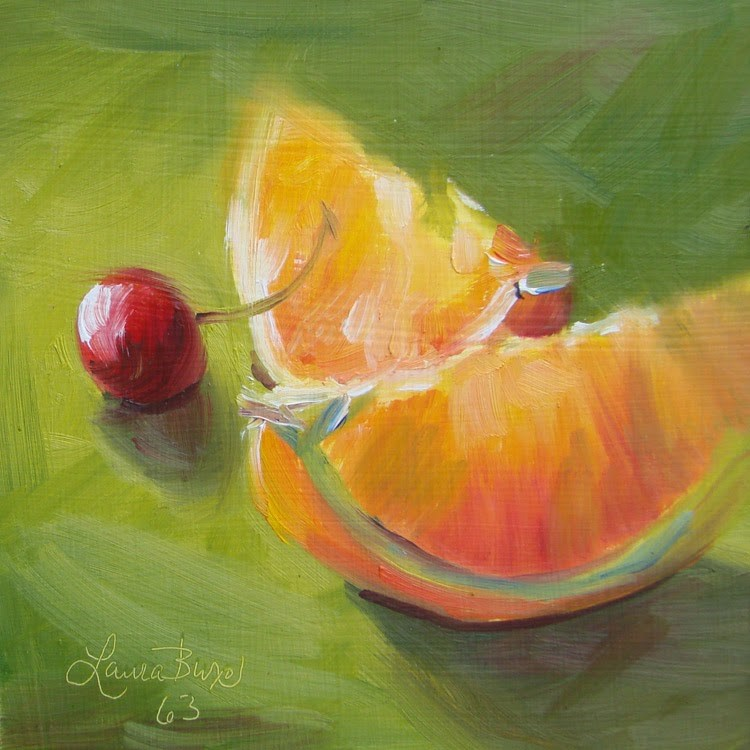"""Orange and Cherry"" original fine art by Laura  Buxo"