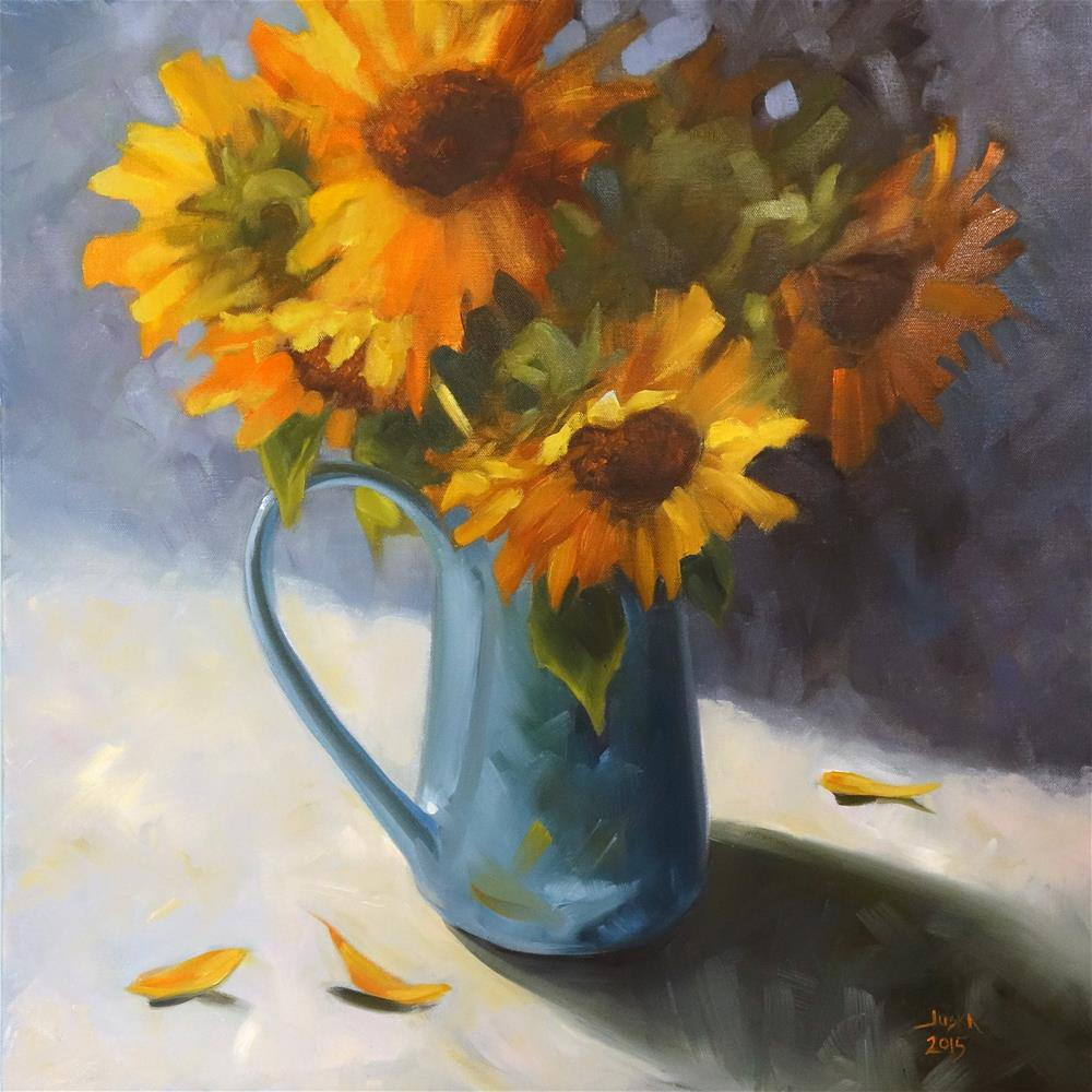 """Sunflowers"" original fine art by Elaine Juska Joseph"