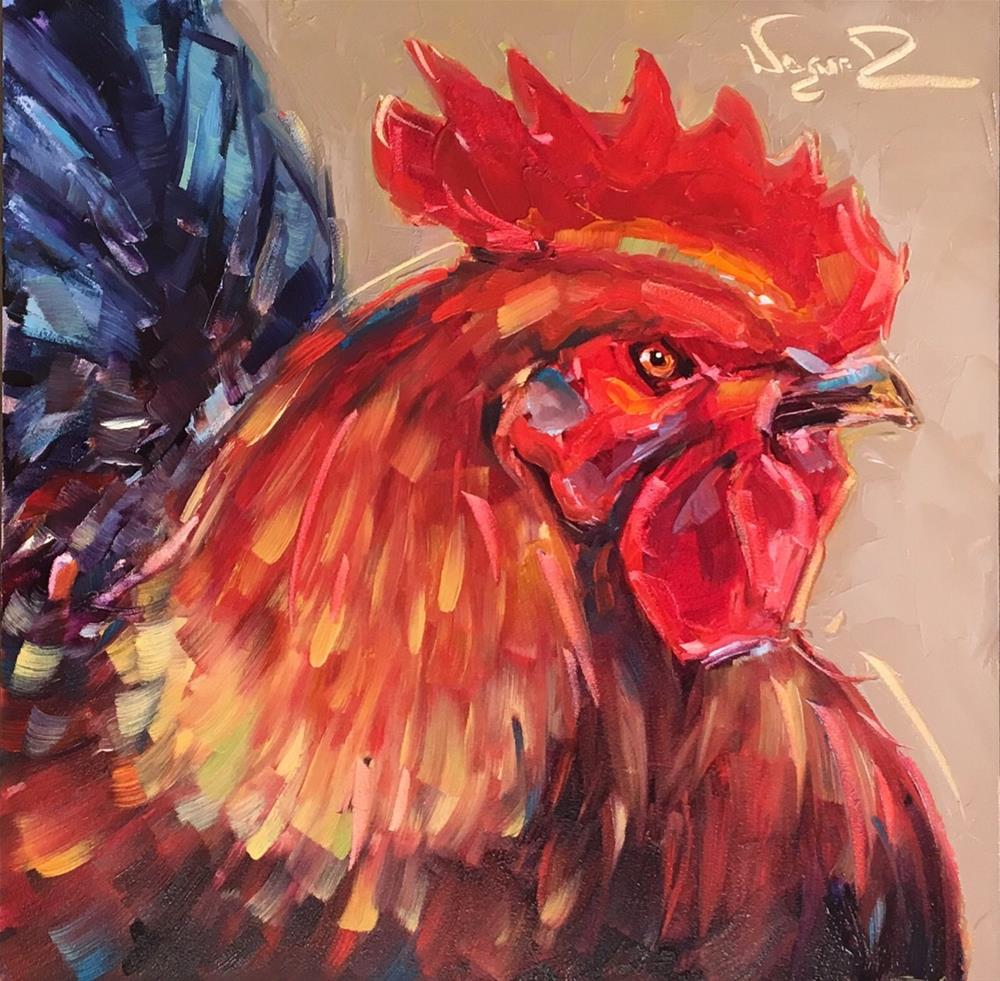 """ORIGINAL CONTEMPORARY ROOSTER PAINTING in OILS by OLGA WAGNER"" original fine art by Olga Wagner"