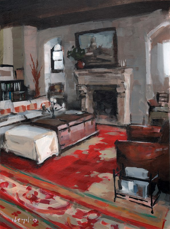 """Rustic Interior with Red Carpet"" original fine art by David Lloyd"