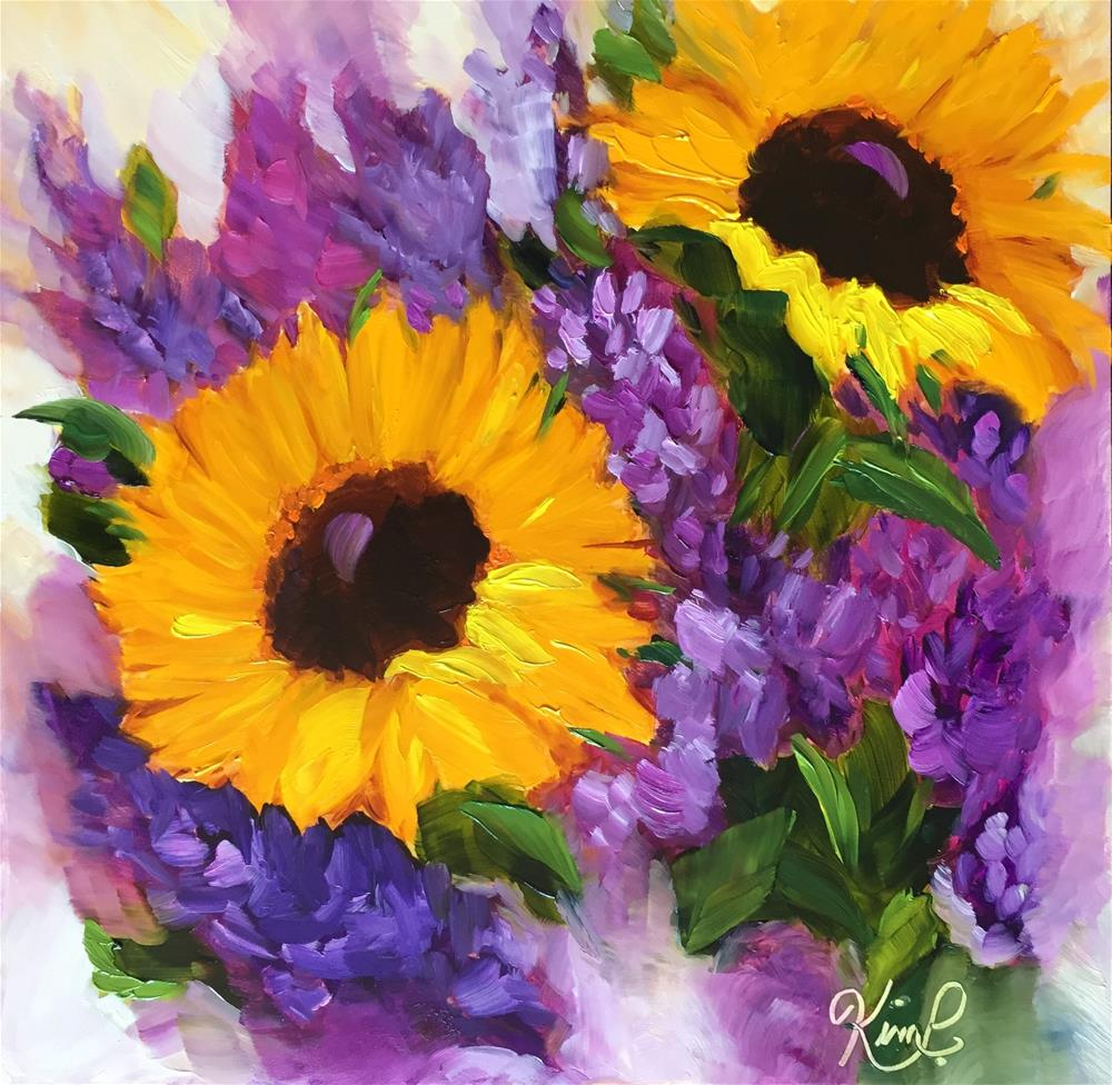 """Sunflowers and Lilacs"" original fine art by Kim Peterson"