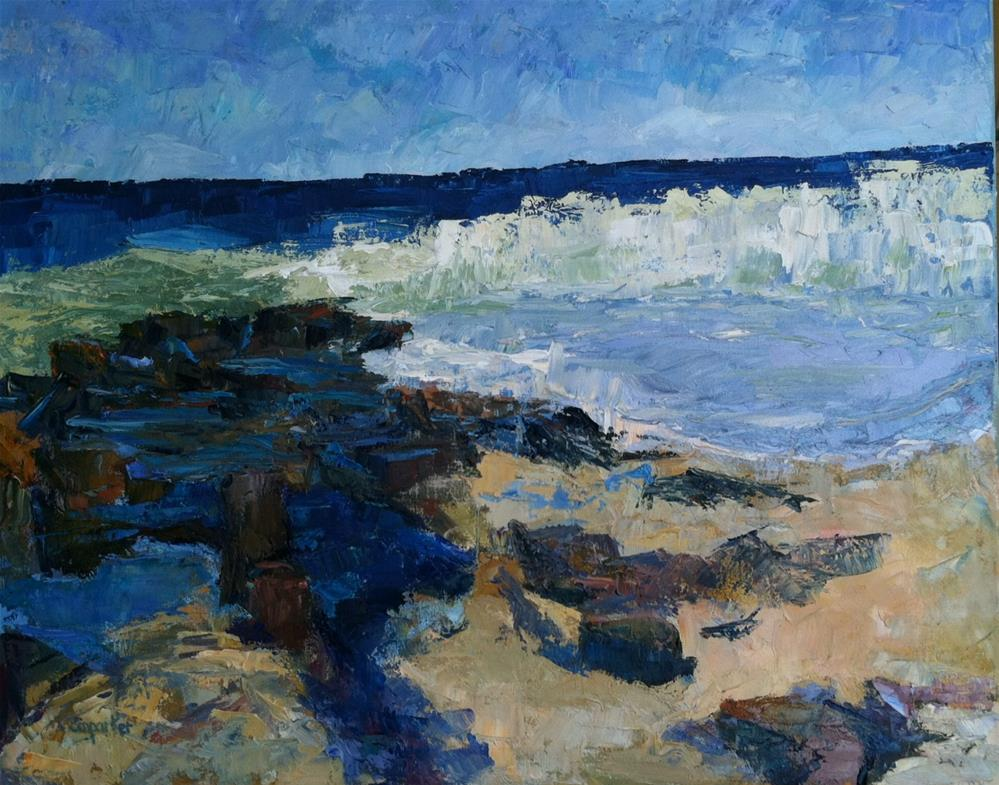 """seascape with rocks"" original fine art by Christine Parker"